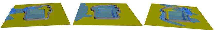 Um das Verhalten des Wassers in den Pools eines Aquaparks im Seegang vorhersagen zu können, wird zunächst die Geometrie der Becken auf ein Rechengitter abgebildet. Danach wir in einer numerischen Strömungsberechnung das Strömungsgebiet um das Metazentrum der Schiffsbewegung bewegt. Das Ergebnis ist die Wasserverteilung im Pool während der Schiffsbewegung.