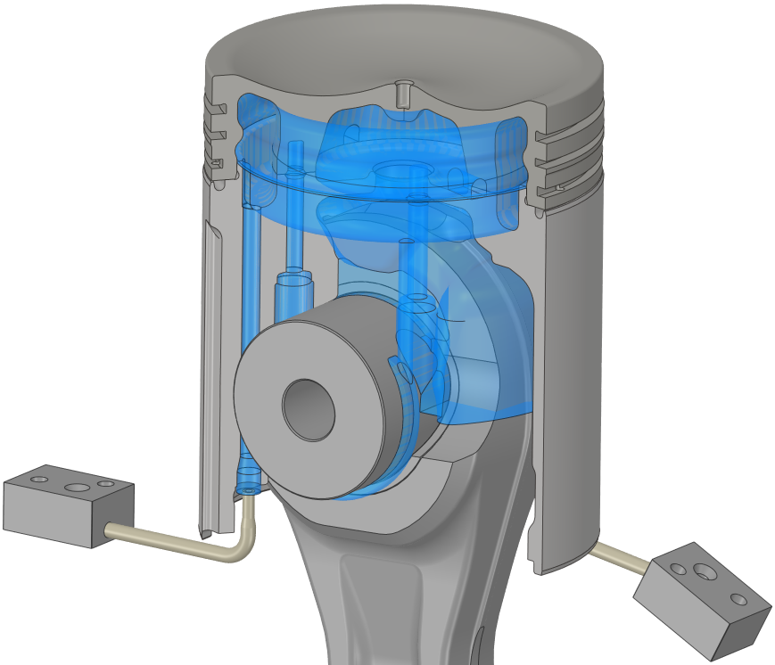 Grundlage für das Modell zur numerischen Strömungssimulation ist das Strömungsgebiet, das aus der Kolbengeometrie abgeleitet wird. Das Strömungsgebiet beinhaltet den inneren und den äußeren Kühlraum, die Verbindungskanäle zwischen den Kühlräumen, so wie das Öleinlass- und Ölauslasssystem. Zusätzlich wurde das Strömungsgebiet im Inneren des Kolbens inklusive Pleuel berücksichtigt.
