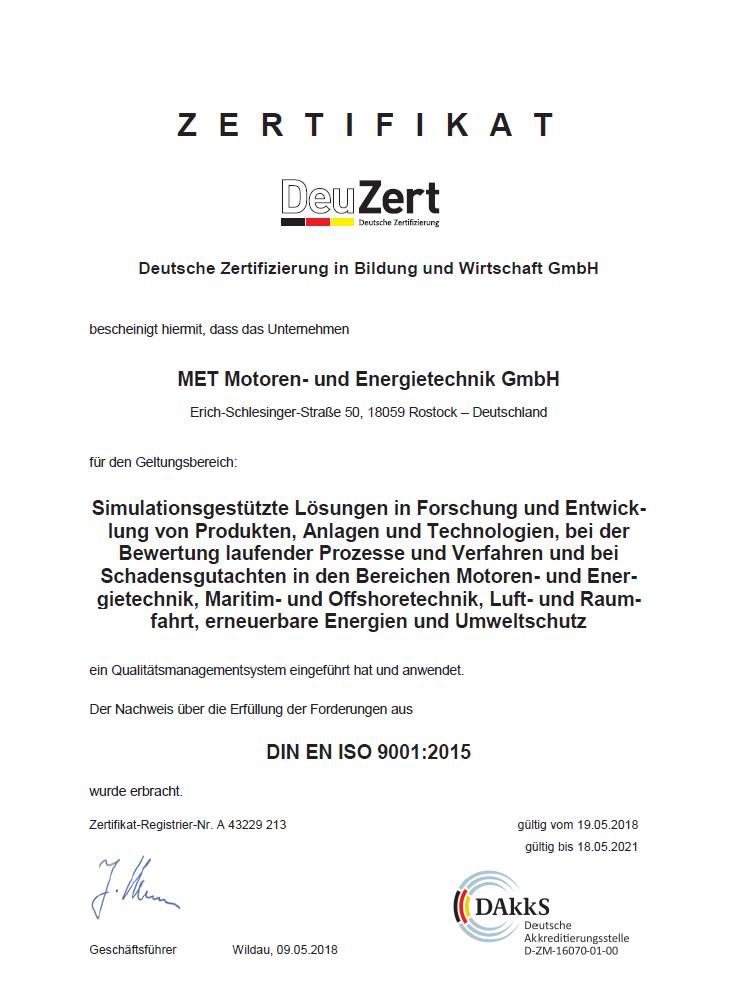 DeuZert Zertifikat ISO 9001:2015